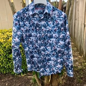 ROBERT GRAHAM Men's Shirt Floral Grid Blue Sz. S